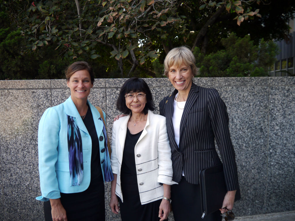 With Elaine,F.Tumonis, deputy attorney general(right), Los Angeles, in 2012.